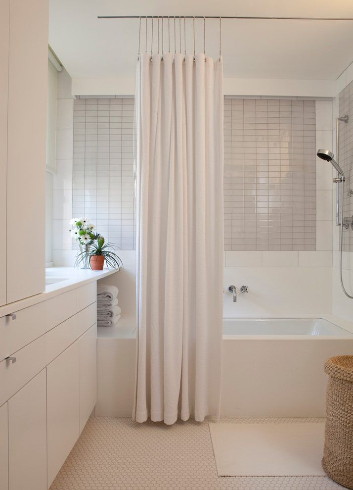 Ceiling Mounted Shower Curtain Rods Bathroom Contemporary With Storage