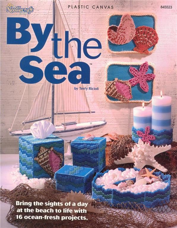 BY THE SEA PLASTIC CANVAS Pattern Needlepoint Paperback BOOK Shells ...