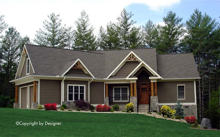 craftsman ranch traditional house plan 97608 | craftsman ranch