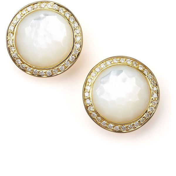 Ippolita Mother Of Pearl Diamond Earrings 1 880 Liked On Polyvore Heart Shaped