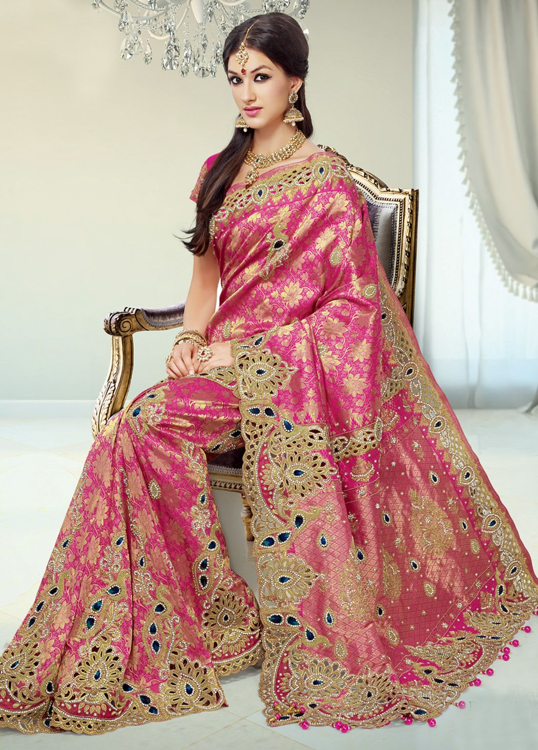 BUY SAREE ONLINE - GREEN AND RED GEORGETTE CHIFFON SALWAR SUIT ...