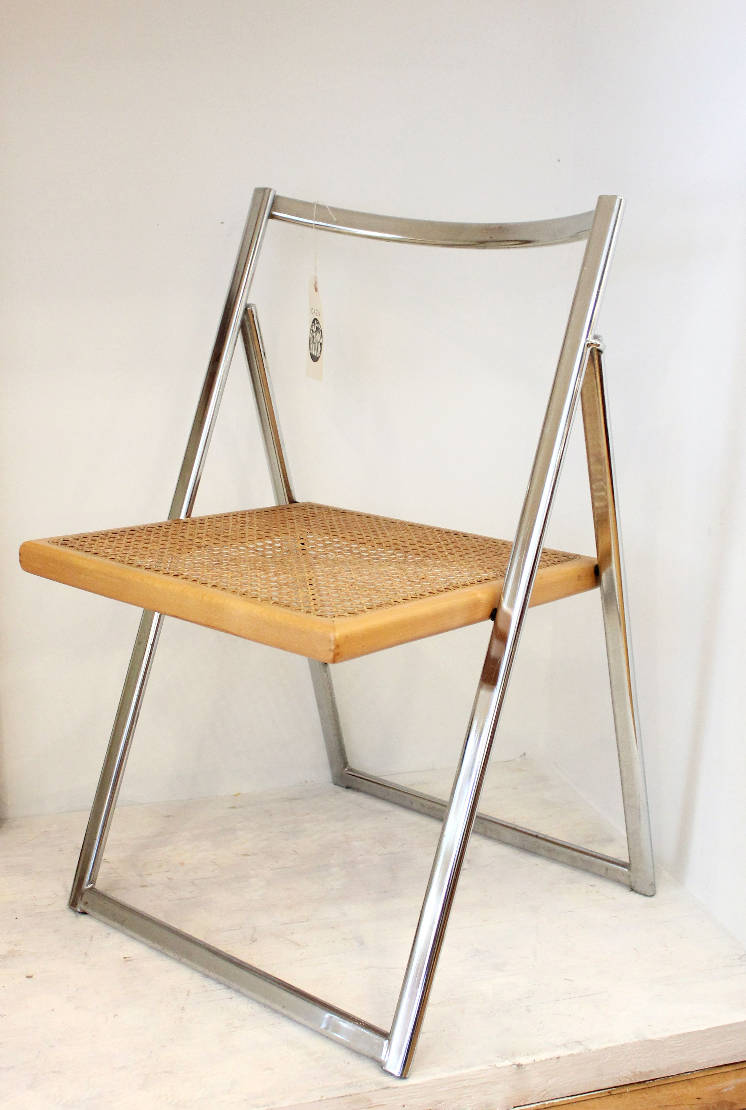 Chrome & Wicker MidCentury Folding Side Chair by CAZA