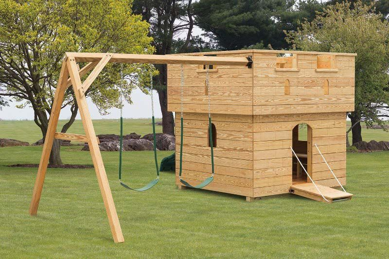 Small Wooden Castle Playground | Adirondack Storage Barns