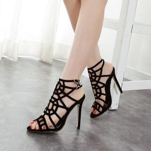 2017 Spring Summer Fashion Celebrity Women Sandals Shoes Hollow High Heel  Female Sandals Black High heel Shoes Plus Size 40