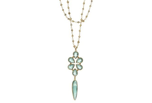Blue Quartz Bezel Necklace
