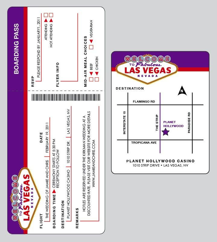 Retro Las Vegas Wedding Airline ticket Invitation by jamiekonet - fake airline ticket maker