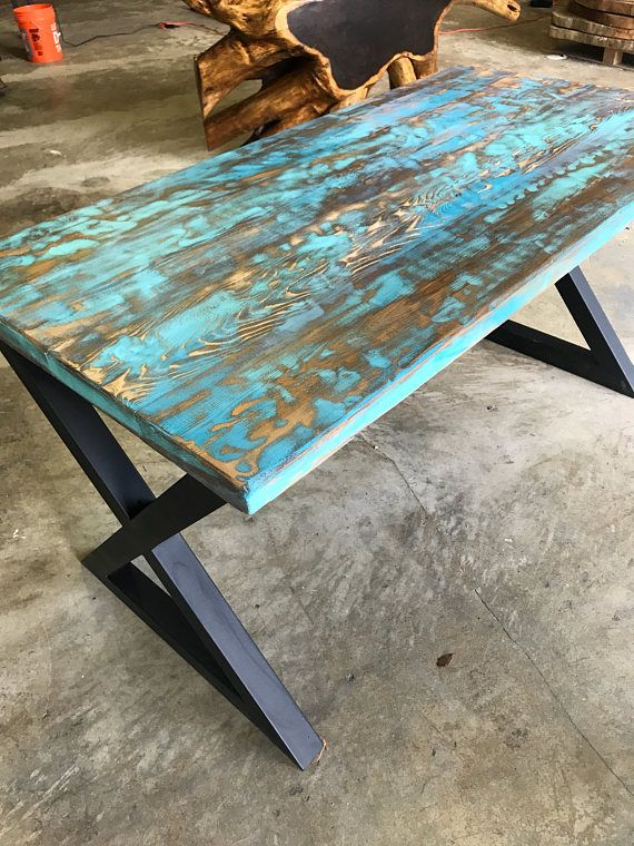 Teal Aqua Reclaimed Wood Dining Table Or Desk Beschilderde