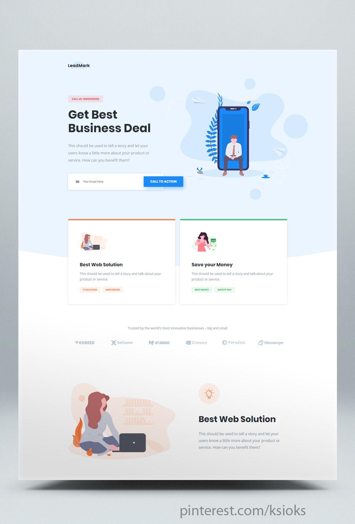 Lead Generation Unbounce Landing Page Template Unbounce Landing Page Website Design