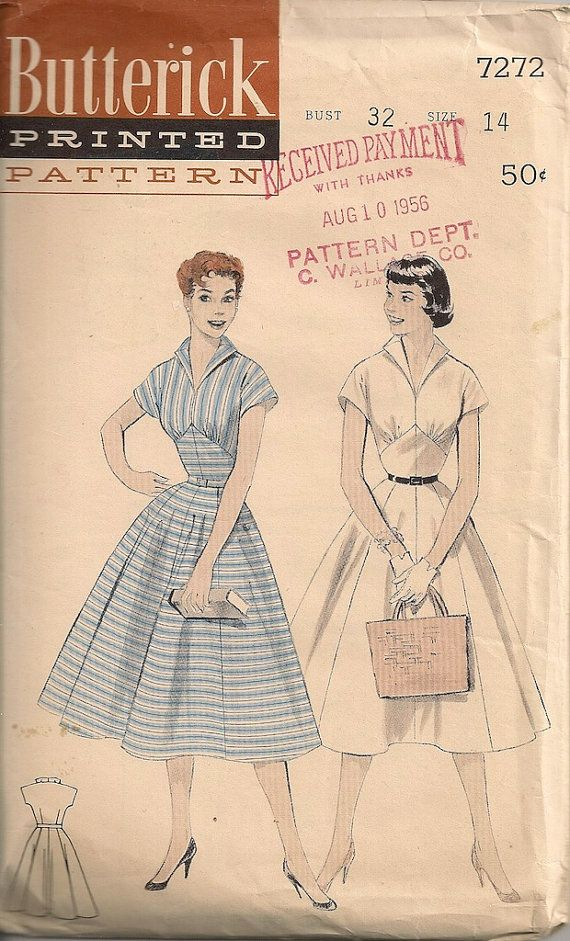 Vintage 1950\'s Dress Pattern Butterick 7272 | Vintage nähen ...