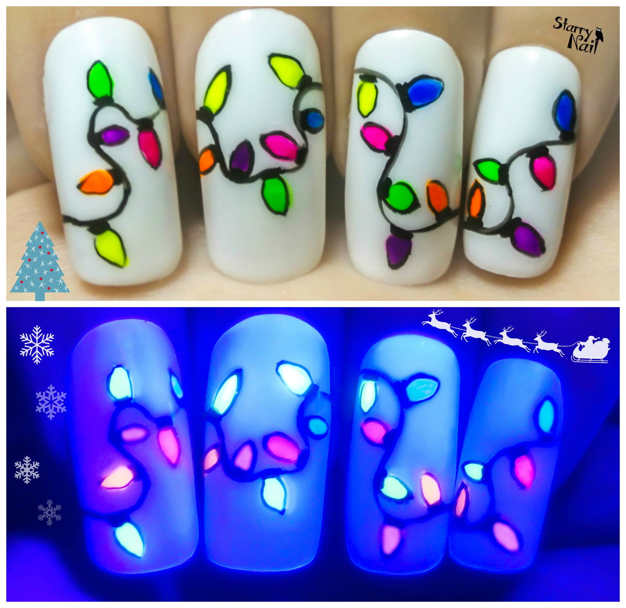 Christmas Nail Art Tutorial Gingerbread Galore: Easy Christmas Lights ⎮ Glow In The Dark Freehand Nail Art