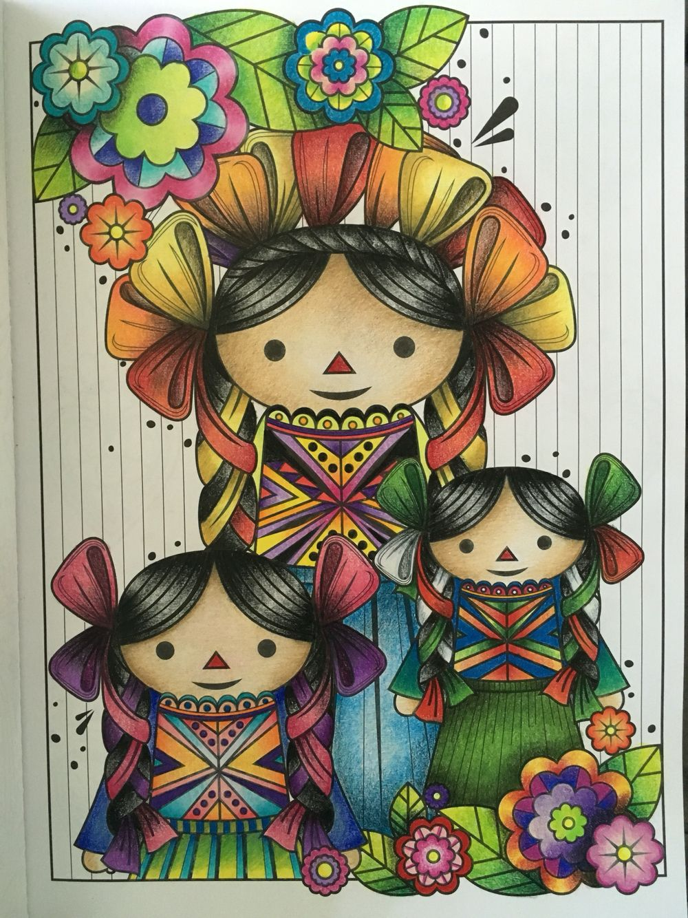 Coloreanding México, mexican dolls, prismacolor. Malacara & Gale ...