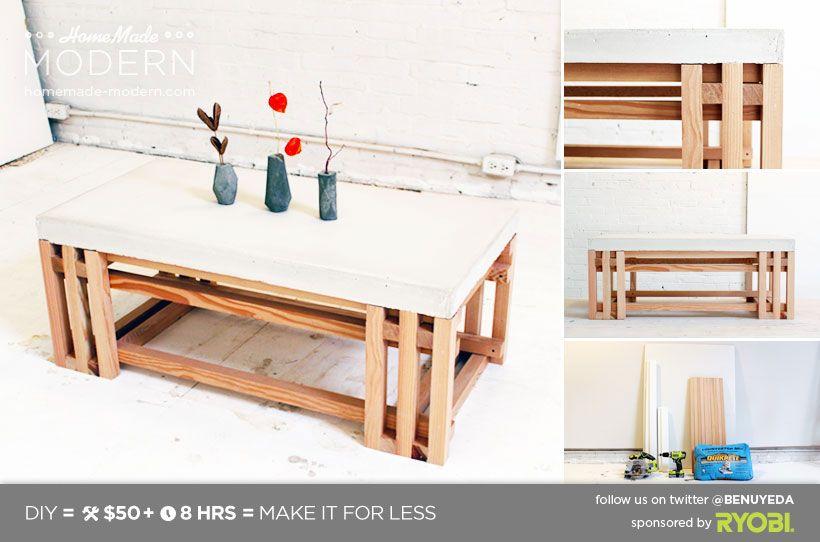 Homemade modern diy ep15 concrete wood coffee table postcard