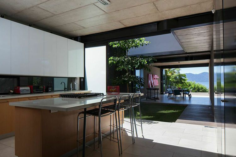 Idyllic Indoor Outdoor House In El Salvador Modern Kitchen With A Lake View