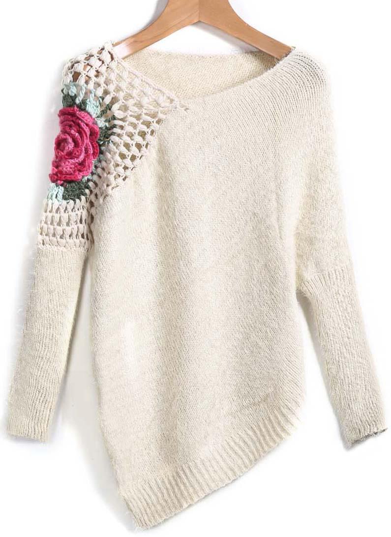 Shop Apricot Round Neck Floral Crochet Loose Sweater online ...