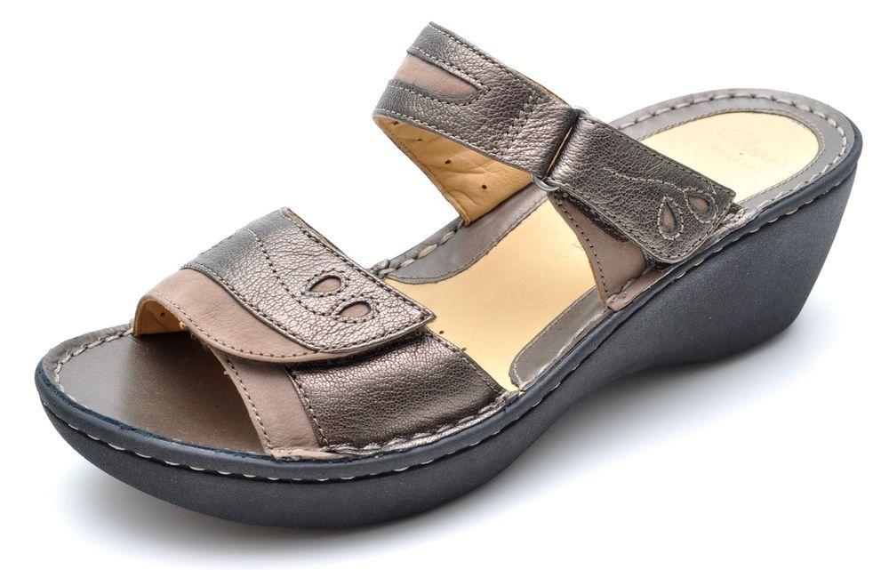 455d6ff3c602 Clarks Unstructured UN AMES Bronze Sandals Wedges Women s 9.5 - NEW  Clarks   PlatformsWedges  Casual