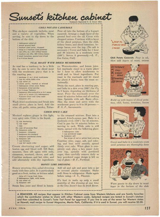 Sunset's Kitchen Cabinet, Sweet Sour Tuna, Minted Lemon Pineapple Sherbet, Crunch Bran Muffins, Hot Mushroom Bouchees, Chili Potato Casserole, Veal Roast With Dried Mushrooms, Cider Spice Cake, Honey Lime Dressing, Sunset Magazine, June 1954