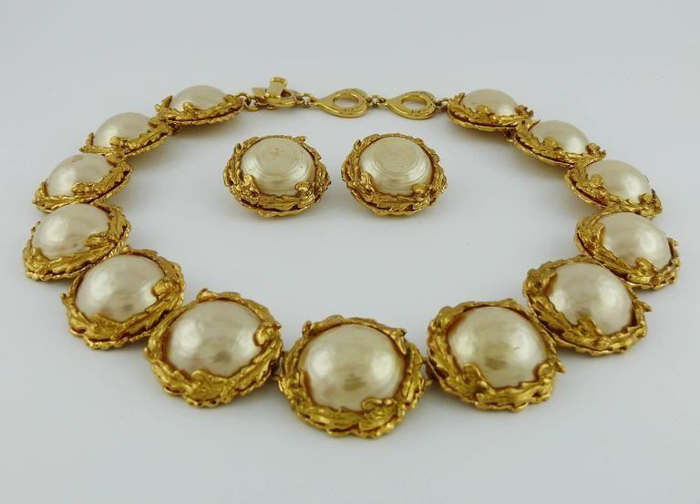 aefa0b0eadf Yves Saint Laurent Pearl Ysl Vintage Necklace Earrings Set   jewelry ...