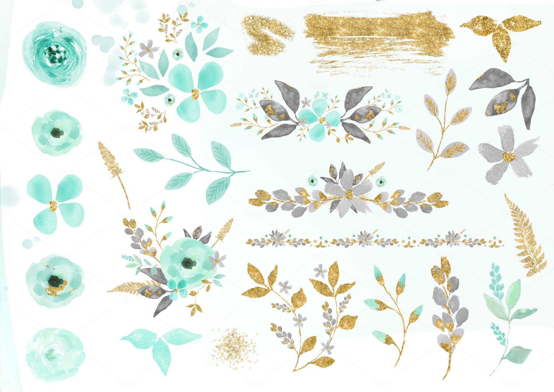 Mint Gold Flower Clipart Flower Clipart Gold Flowers Gold Watercolor