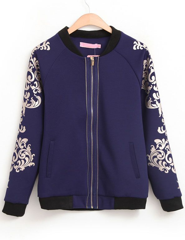Blue Stand Collar Long Sleeve Floral Pockets Jacket US$33.44