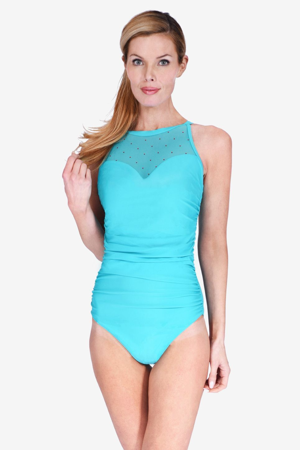 63aba2b3b2eab Mesh High Neck Ruched Underwire One Piece Women s Swimsuit Maillot by Mazu  Swim