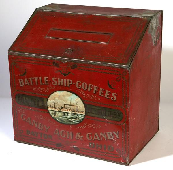 EARLY DAYTON, OHIO COFFEE BIN W/SCENE OF BATTLESHIP