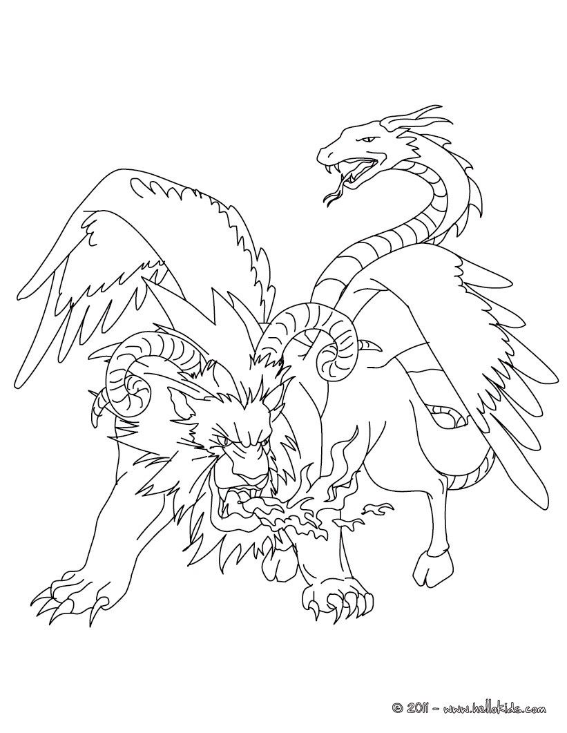 chimeras are classic all around this free coloring page can be