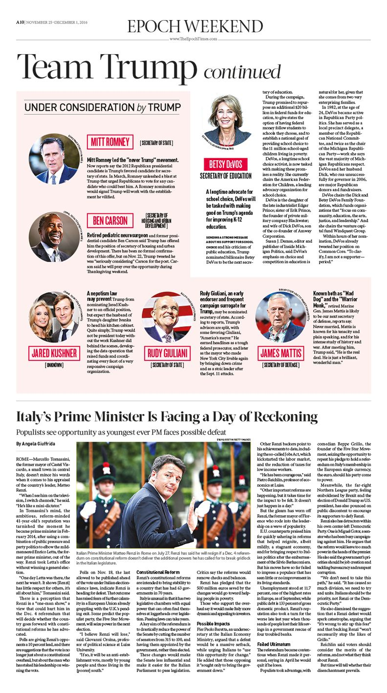 The Formation Of Team Trump Epoch Times America Donaldtrump Newspaper Editorialdesign Text Design Editorial Design Newspaper