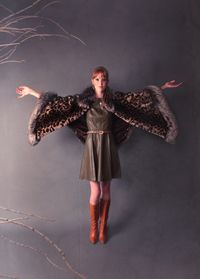 An animal print mink and silver fox cape