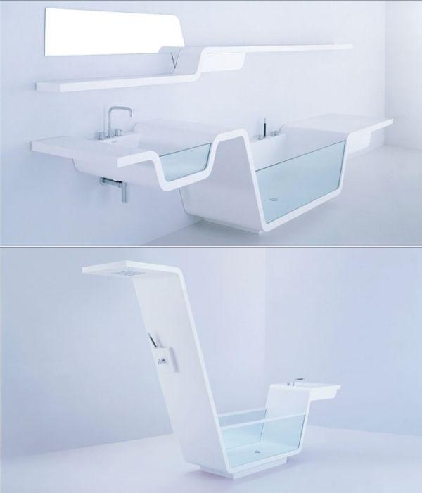 badmöbel-set design-waschbecken glas-front-freistehende badewanne