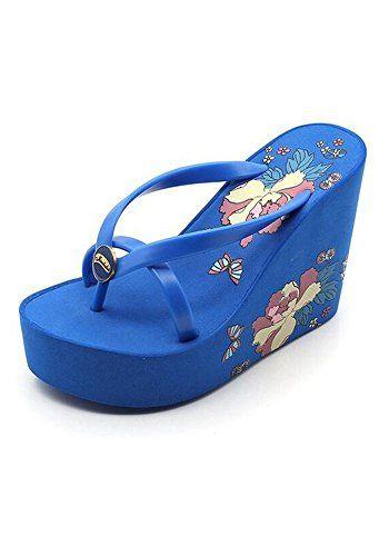 a943f68910ad3 Puretime Womens Platform Wedges Foral Flip Flops Summer Sandals US 7 EUR 38  240 MM Blue