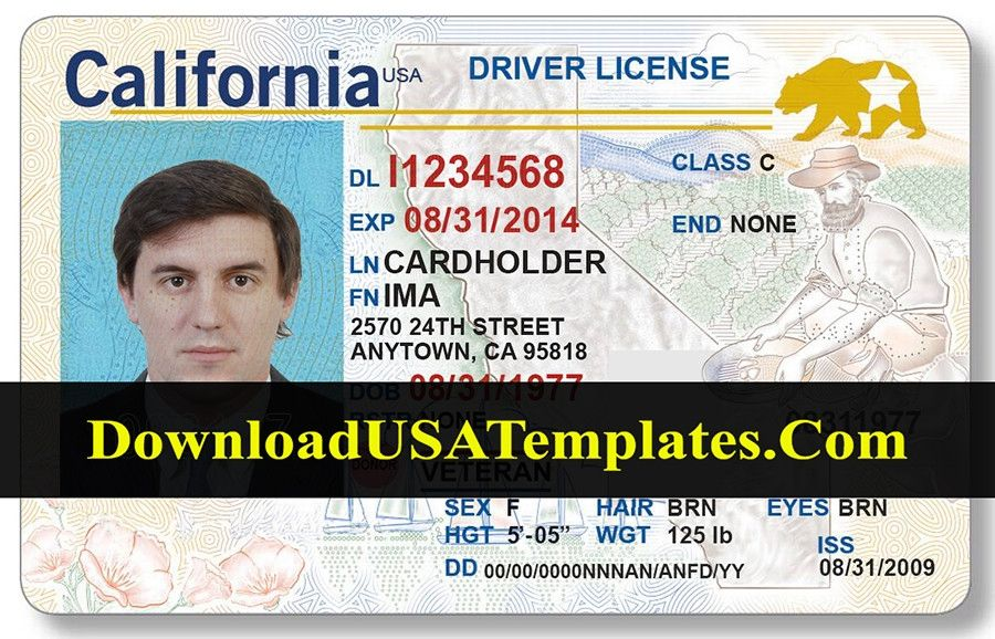 California Drivers License Template Free Five Various Ways