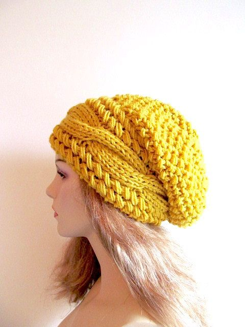00fff25ace102 Mustard Gold Slouchy Beanie Slouch Cable Hats Oversized Baggy Yellow ...