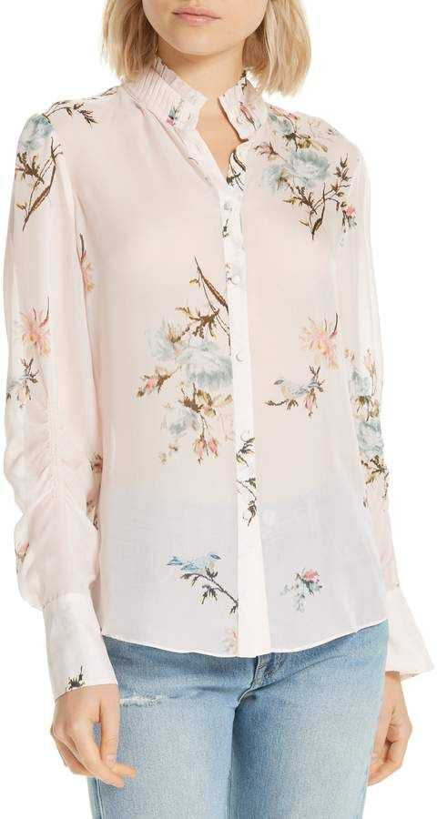 5860897b45711f Joie Elzie Print Silk Blouse | Products in 2019 | Blouse, Silk, Joie