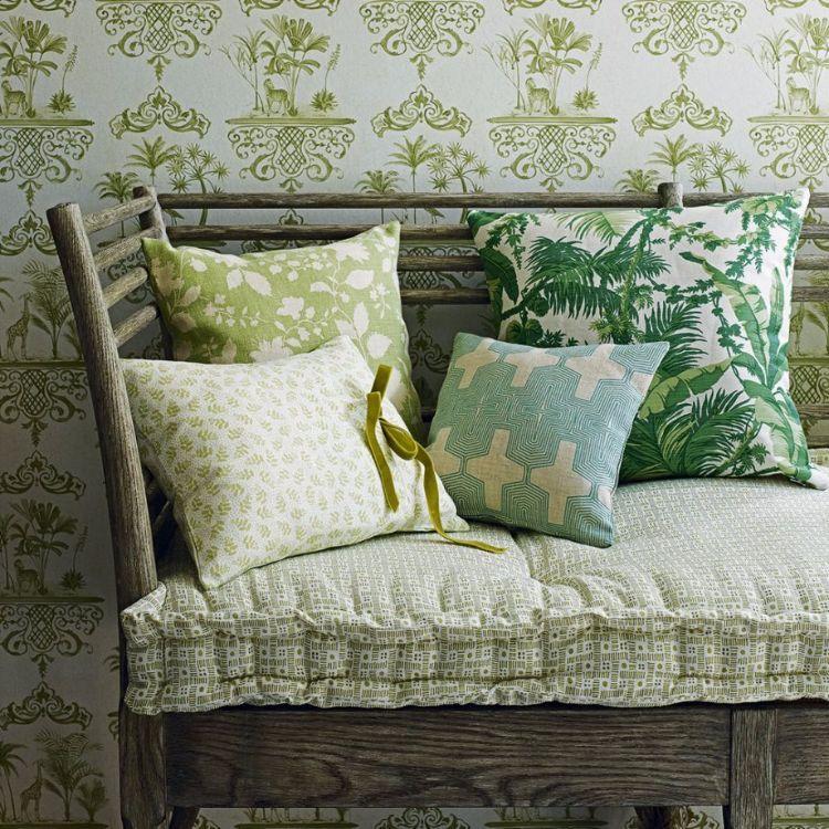 Grüne Tapeten für Wohnzimmer mit grünen Garten-Motiven ...
