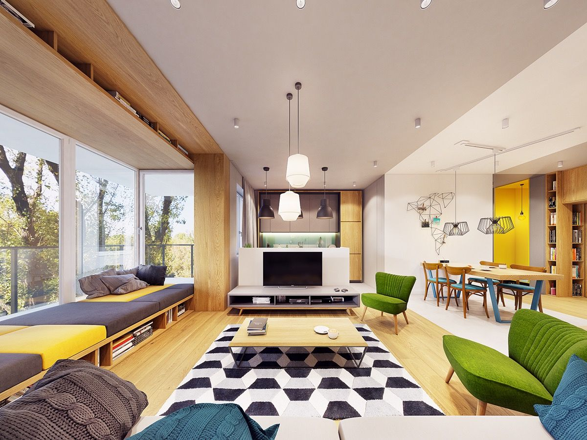 Funky Modern Interior with Natural Accents & Geometric