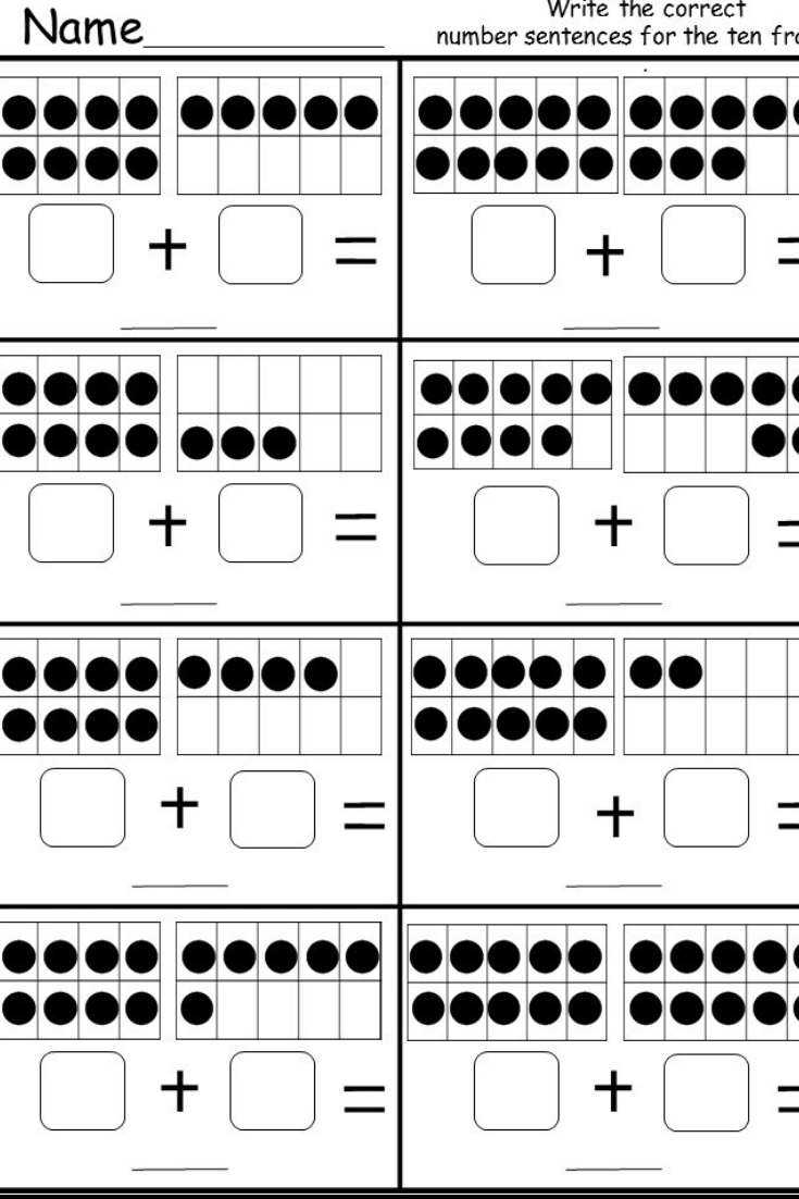 Free Ten Frame Addition Worksheet   Kindergarten math worksheets free [ 1102 x 735 Pixel ]