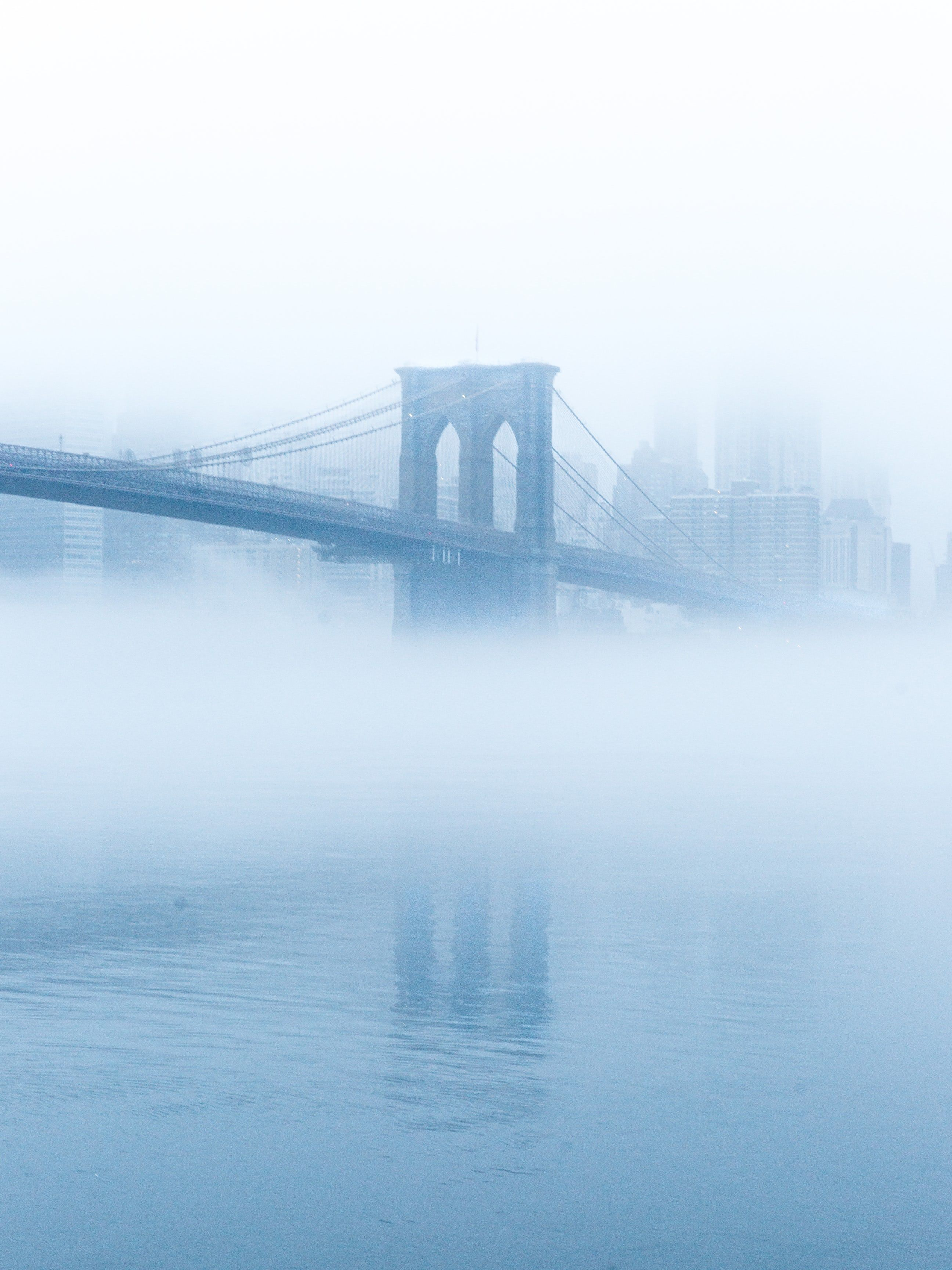 Soft Blue Fog Circling Brooklyn Bridge Light Blue Aesthetic Blue Aesthetic Pastel Baby Blue
