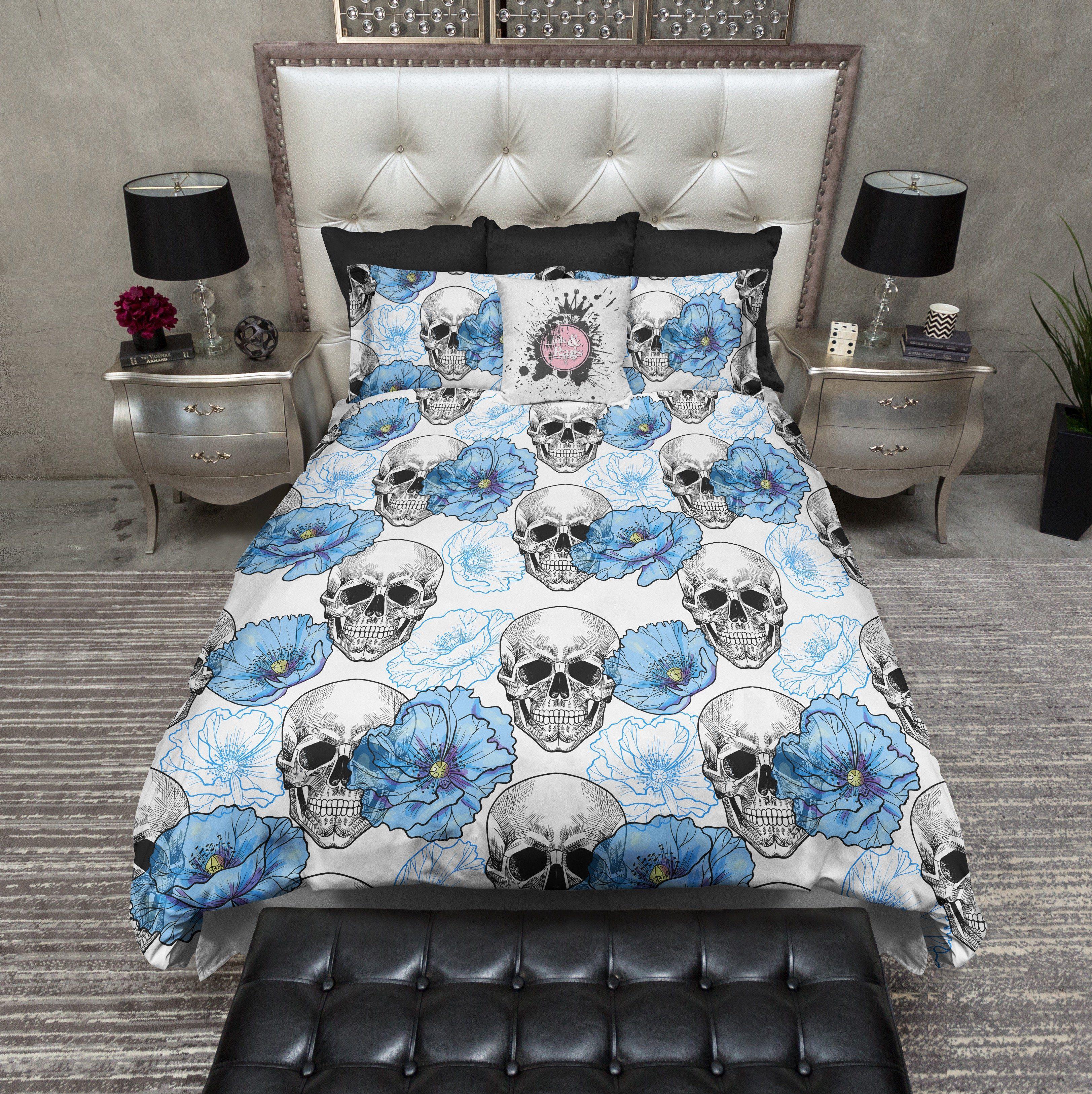 Blue Poppy on White Skull Bedding Duvet bedding sets