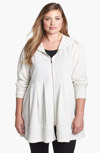 Pink Lotus Pleated Tunic Hoodie (Plus Size) available at ...