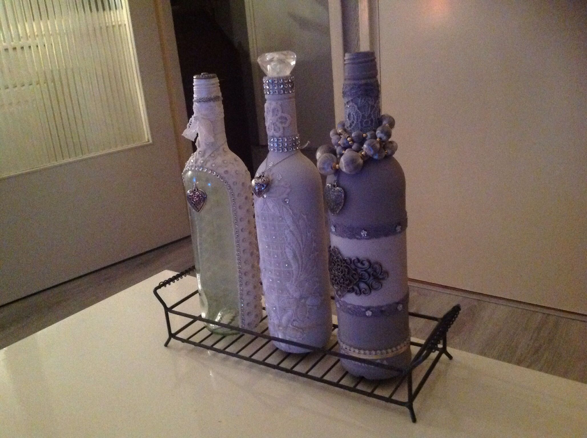 My #diy #handmade decorated #gesso bottles, three in a row. I am absolutely in love with my sweeties :-)