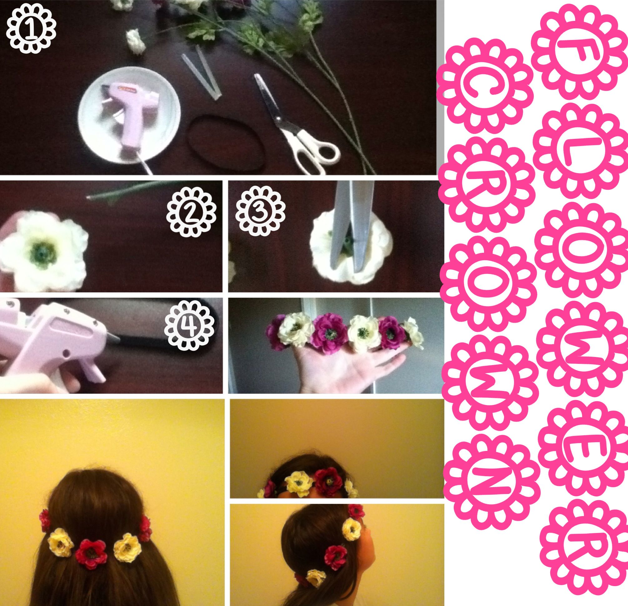 Diy flower crown flower crown supplies fake flowers diy flower crown flower crown supplies fake flowers headband hot glue gunglue sticks scissors steps take off the flowers cut the backs off hot izmirmasajfo