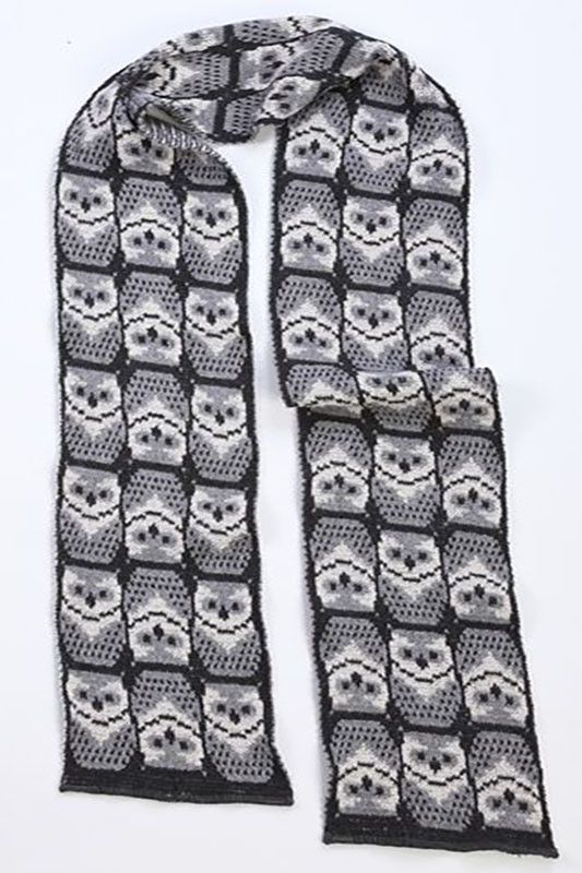 Keep your neck warm this winter with our wonderful made in the USA owl scarf. This grey scarf features a delightful repeating owl pattern. This women's scarf makes a great gift. This whimsical women's