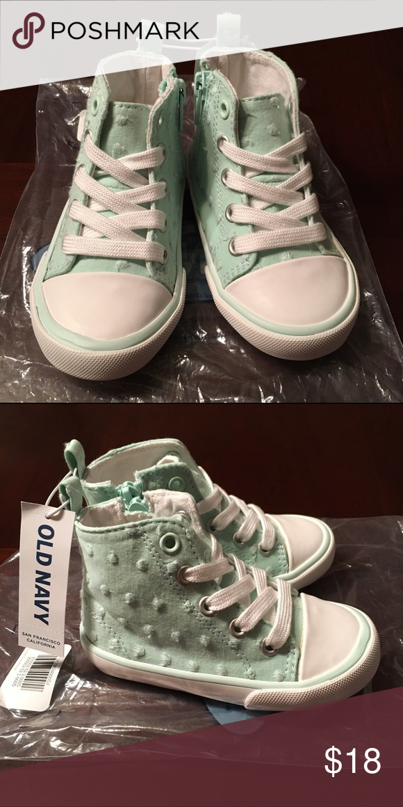 Old Navy Light Blue/Green Polka Dot High Tops NEW, NEVER WORN Old Navy Shoes Sneakers