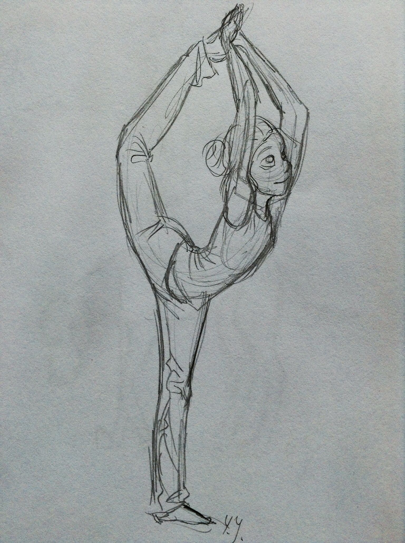 Gymnastic girl sketch by yenthe joline dynamic stretching dance
