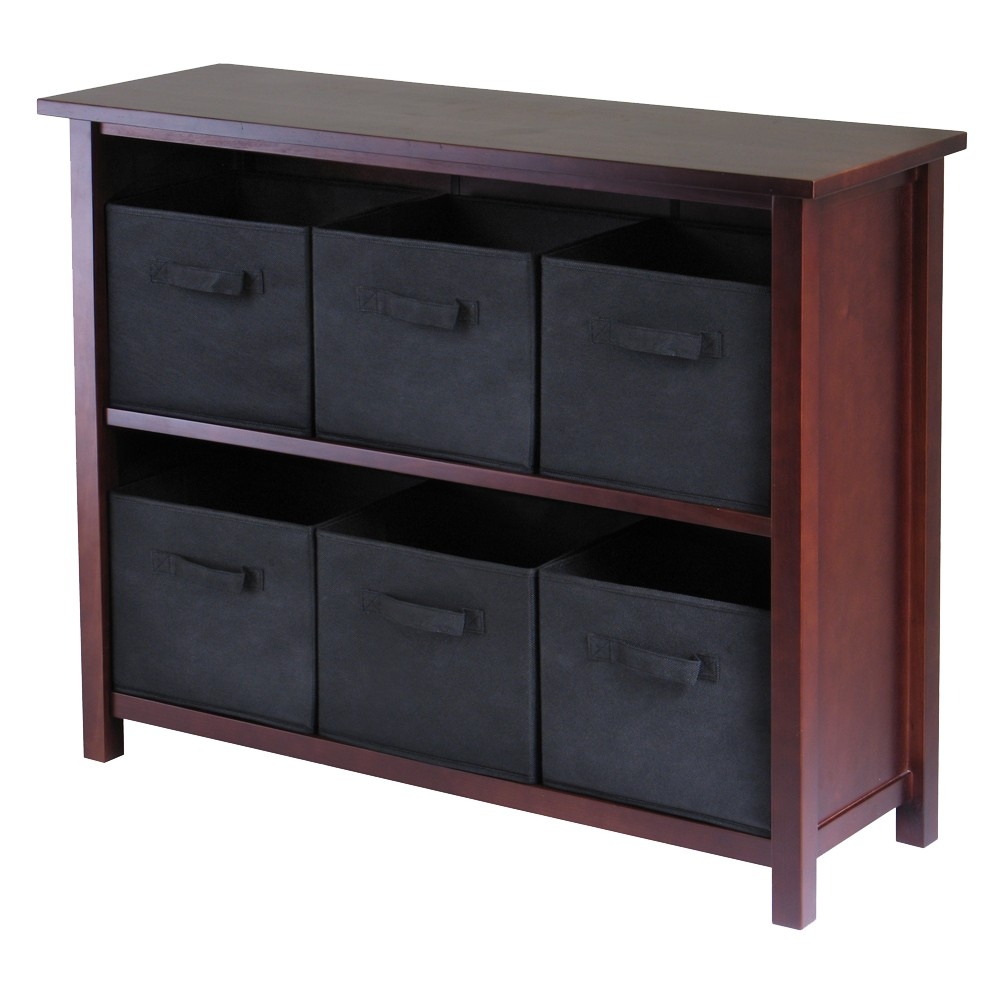 Winsome shelf verona storage with baskets walnutblack products