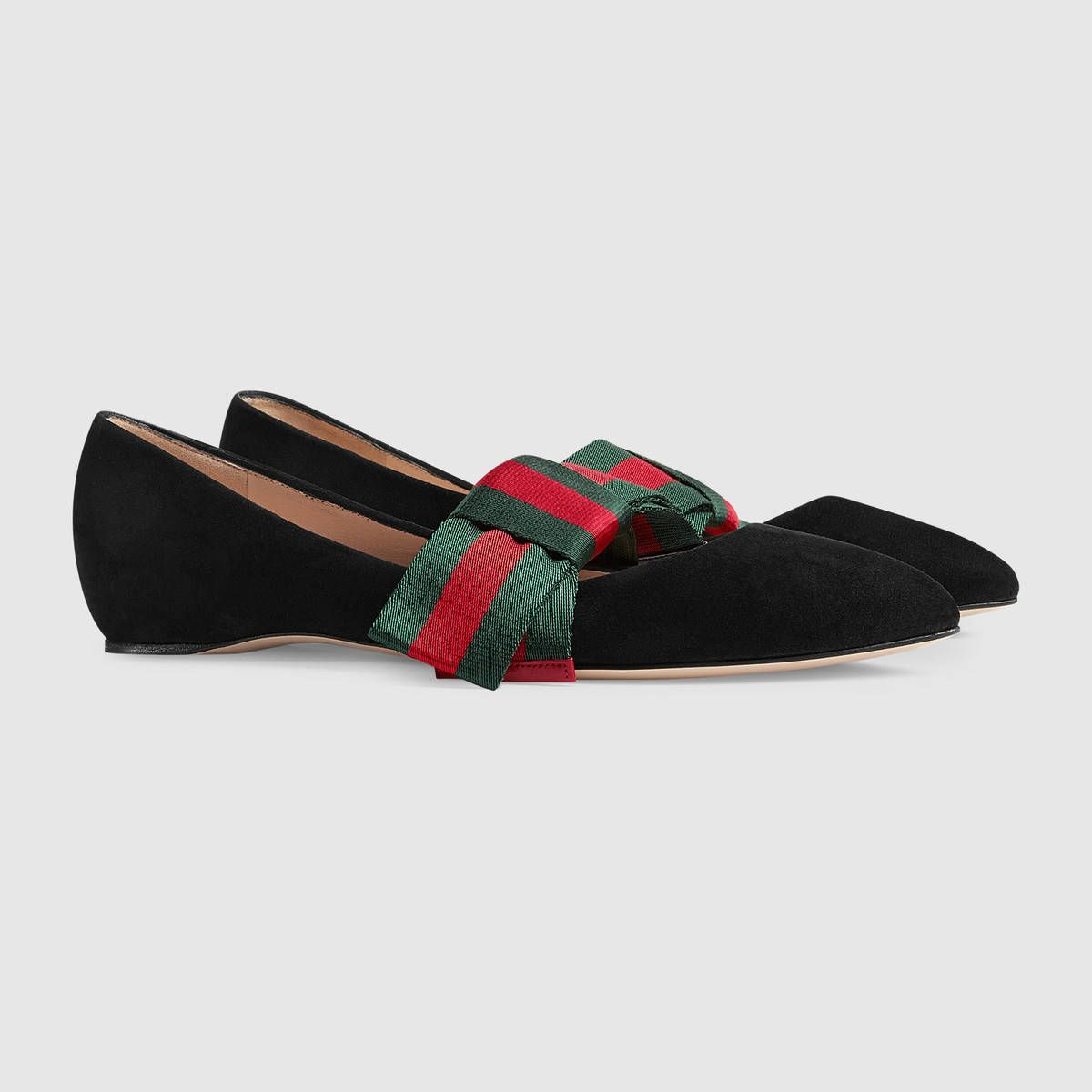 2e9f6b1c84088d Gucci Suede ballet flat with Web bow Detail 2