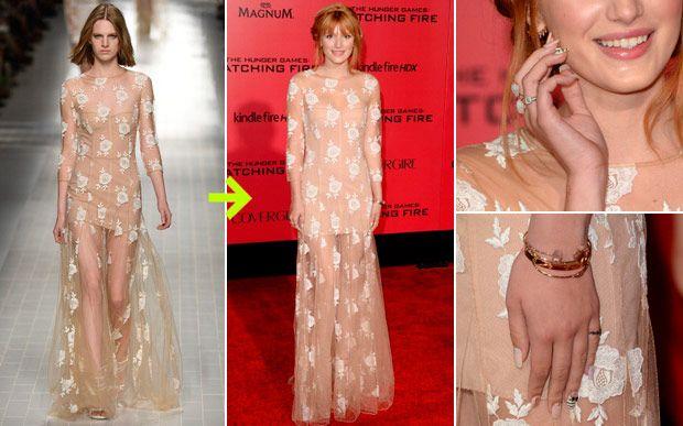 No desfile, este vestido nude com transparência já era a cara de Bella Thorne, concorda? Com a tiara de trança e os acessórios simples ficou ainda mais. A peça faz parte da coleção primavera-verão 2014 da Blumarine.