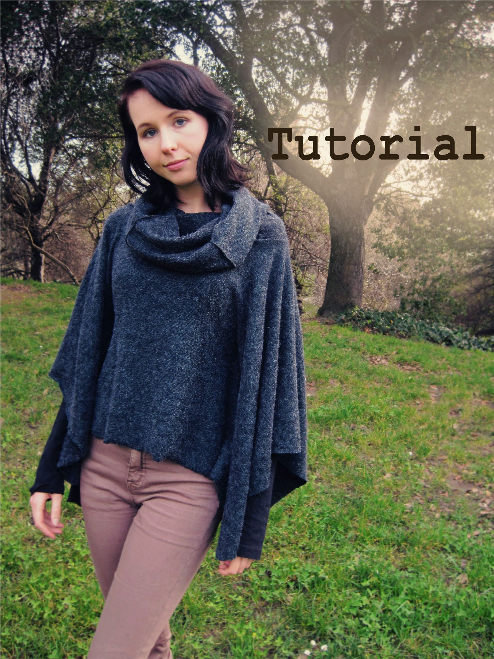 Perfect for winter layering, this fitted poncho has a cowl neck ...
