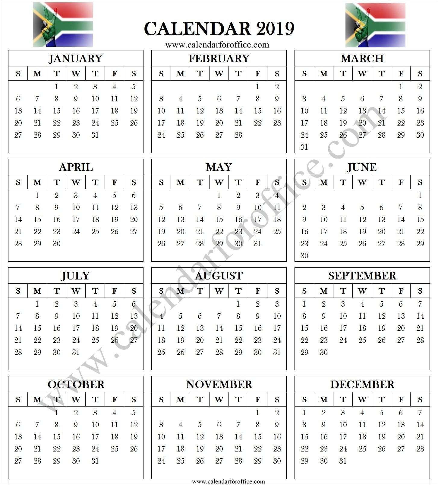 South Africa 2019 Calendar With Holidays 2019 Yearly Calendar