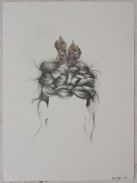 Nest, 11x15, watercolor and graphite by Lauren Munns # ...